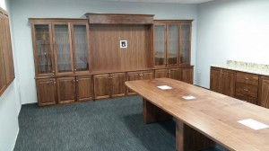 Walnut Conference Table and Media Center