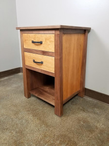 Walnut and Cherry Bedside Table