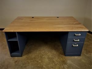 Walnut and Navy Executive Desk