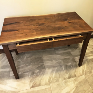 Live Edge Walnut Desk and Drawers